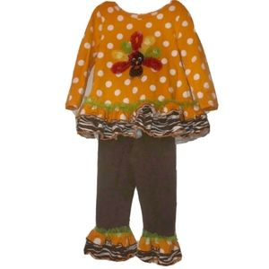 Bonnie Jean Turkey Thanksgiving Outfit Size 6